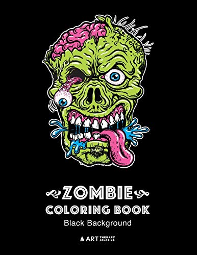 Product Image of the Zombie Coloring Book: Black Background: Midnight Edition Zombie Coloring Pages...