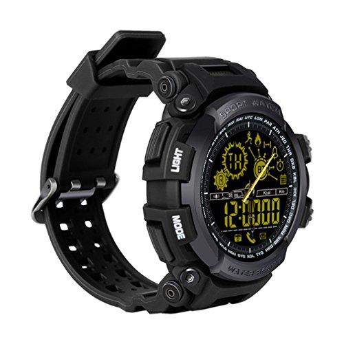 50 ATM Impermeabile Smart Watch DX16 Call Message Ricordare Remote Camera Orologio da Polso Passometer Support Swim,Black