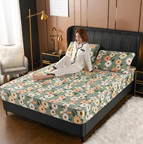 GSYHZL Stretch Spannbetttuch,Milch Samt Gesteppte Hotelwohnung Spannbetttücher, Dicke Wärme Flanelldruck Einzelmatratze Schutzbezug-G_135cmx200cm + 30cm