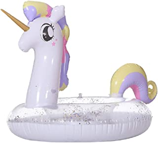 Ouflow Unicorn Swim Pool Float Summer Tubes for Floating, Fun Beach Floaties with Glitters Swim Ring Inflatable Lounge Raft Tube Summer Swim Party Toys for Adults, Women, Kids