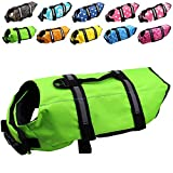 Dog Life Jacket Easy-Fit Adjustable Belt Pet Saver Swimming Safety Swimsuit Preserver with Reflective Stripes for Doggie (L, Green)