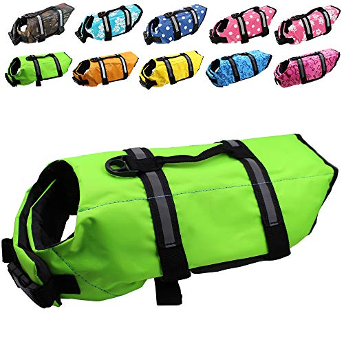 Dog Life Jacket Easy-Fit Adjustable Belt Pet Saver Swimming Safety Swimsuit Preserver with Reflective Stripes for Doggie (S, Green)