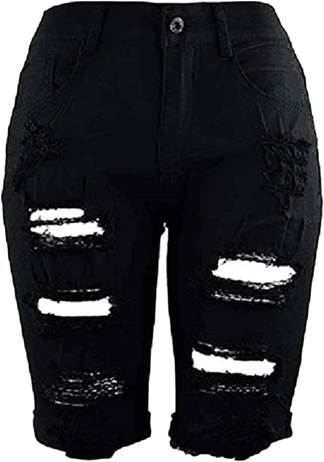Women's Destroyed Stretchy Bermuda Shorts Jeans Summer Mid Rise Ripped Denim Shorts Hole Washed Distressed Jean Shorts (Black,Medium)