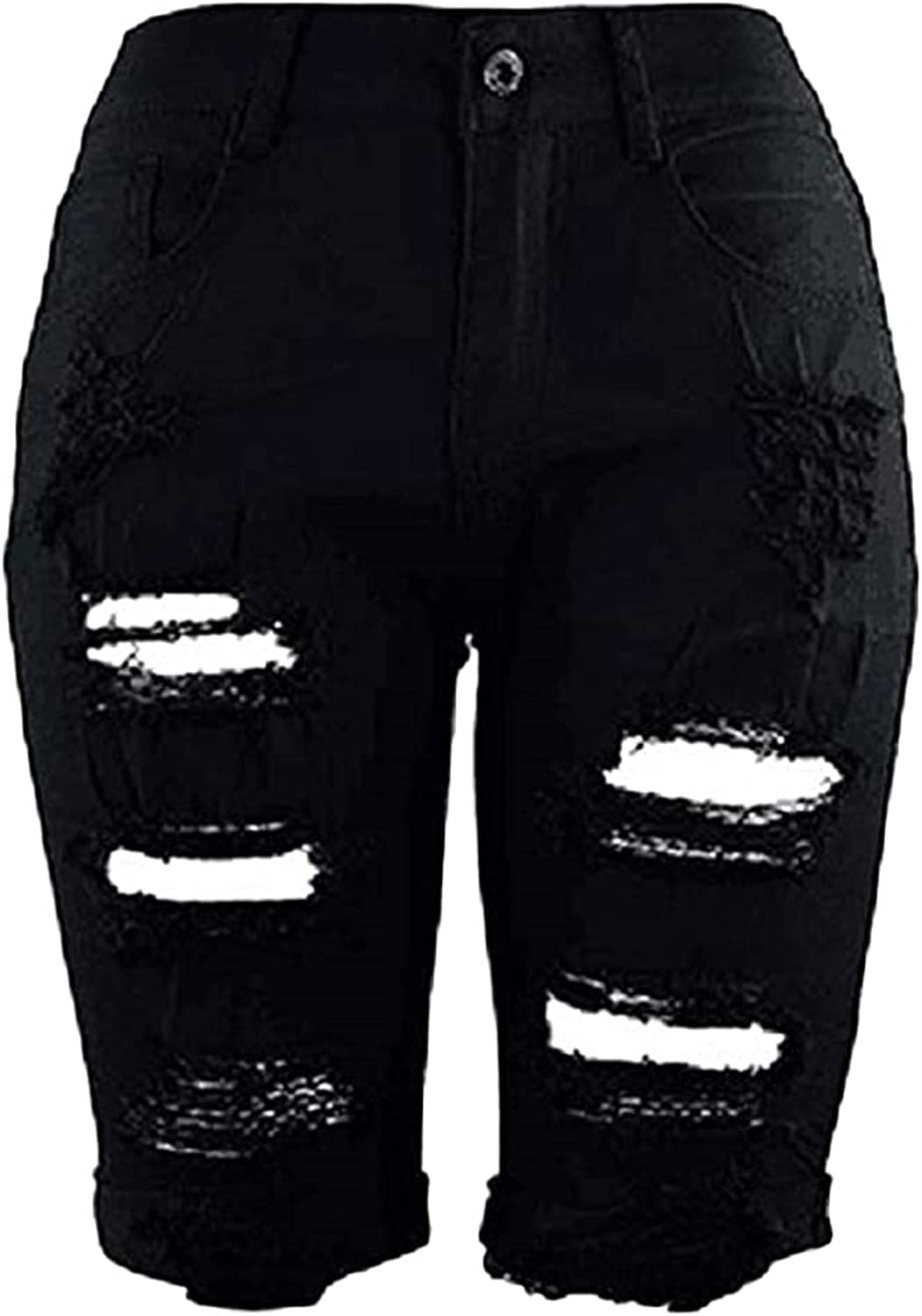 Ripped Bermuda Denim Shorts For Women Distressed Juniors Plus Size Jeans Shorts High Waisted Sexy Stretchy Short Jeans