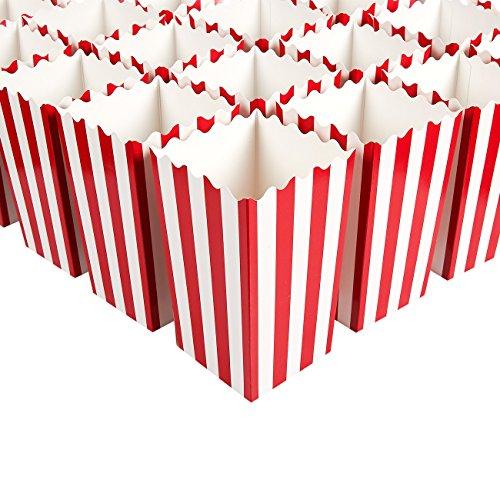Juvale Mini cajas de palomitas de maíz (juego de 100) - Ideal para noches de cine, cumpleaños, Baby Showers - Rayas rojas y blancas clásicas - 3 x 3.9 x 3 pulgadas