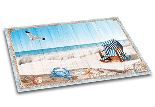 """Schreibtischunterlage aus Papier """"Meeresbrise""""   Kinder & Erwachsene   DIN A2   40 Blatt   Schreibunterlage mit maritimem Strand-Motiv, blau - Schreibgefühl®"""