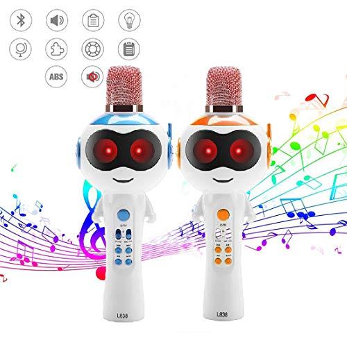 WHWH Micrófono inalámbrico Bluetooth, micrófono del niños, Audio máquina, inalámbrico K Song, Toy Machine Educación Temprana,Orange-22 * 8.3cm