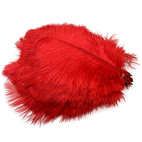 Sowder 50pcs Natural 8-10inch(20-25cm) Ostrich Feathers Home Wedding Decoration(red)