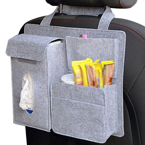 Chytaii Auto Rücksitztasche Rückenlehnenschutz Rücksitz Organizer Filz Aufbewahrungstascge KFZ Rückenlehnen Tasche Auto Utensilientasche für Auto Fahrzeuge Grau