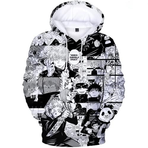 HFRTKLSAW Jujutsu-Kaisen 3D Sudadera con capucha Gojo Satoru Anime Pullover Cosplay Sudadera Outwear con capucha Disfraz, F,M