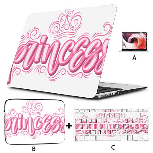 MacBook Air Case Calligraphy Design Pink Princess Angelic MacBook Air Hard Cover Hard Shell Mac Air 11'/13' Pro 13'/15'/16' with Notebook Sleeve Bag for MacBook 2008-2020 Version