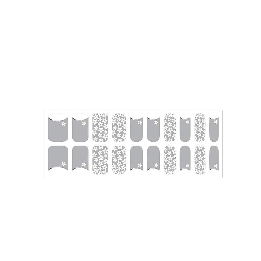 漏れ寄付科学者爪に貼るだけで華やかになるネイルシート! 簡単セルフネイル ジェルネイル 20pcs ネイルシール ジェルネイルシール デコネイルシール VAVACOCO ペディキュア ハーフ かわいい 韓国 シンプル フルカバー ネイルパーツ シール フラワー クリア ラインテープ ツートン おしゃれ (flower garden(グレー))
