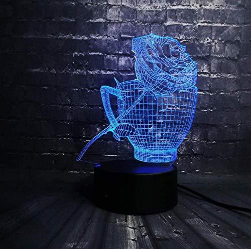3d led nachtlicht rose blume kaffeetasse shop dekoration usb lampe schlaf licht 7 farbwechsel weihnachtsgeschenk usb base batterie