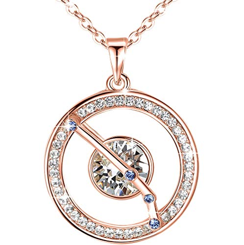 """Leafael """"Superstar"""" Zodiac Constellation Pendant Necklace Made with Premium Crystal March April Birthstone Clear White Horoscope Jewelry, Aries, 14k Rose Gold Plated, 18""""+2"""""""
