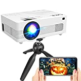"""[WiFi Projector] QXK Upgraded 7500Lumens Projector, Enhanced Full HD 1080P Mini Projector, Max 200"""" Display Supported, Compatible with Smartphone/HDMI/AV/USB/TF/Sound Bar/TV Stick [Tripod Included]"""