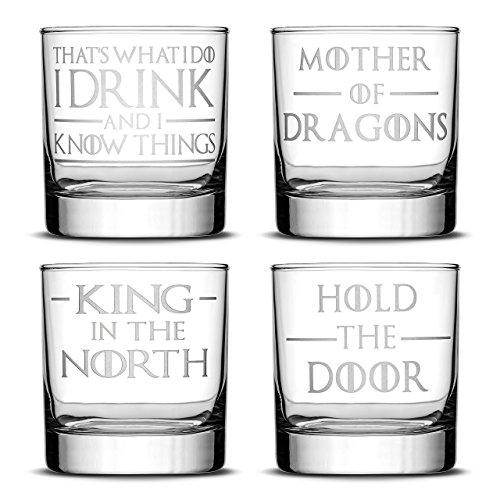 Integrity Bottles Set of 4, Premium Whiskey Glasses, I Drink and I Know Things, Mother of Dragons, King in the North, Hold the Door, Drinking Gifts, Made in USA
