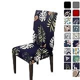 HZDHCLH Housses de chaise douces lavables pour 4/6 - Installation élastique, Forêt tropicale/bleu...