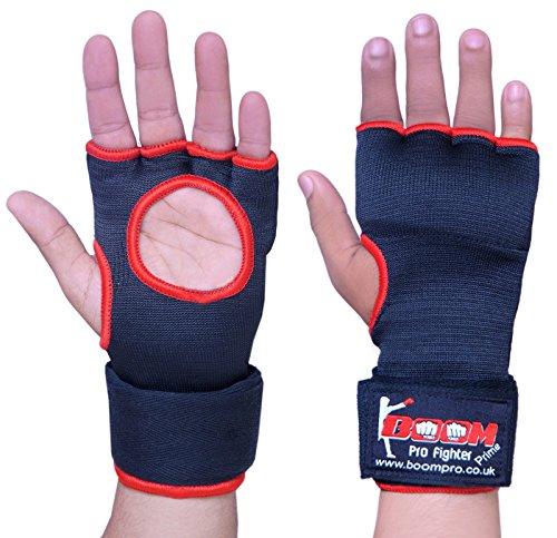 BOOM Prime guantoni da boxe interni in gel per Muay Thai arti marziali sacco da boxe MMA Grappling Pugno Protector bende Kickboxing imbottito UFC guanti da allenamento (nero, L/XL)