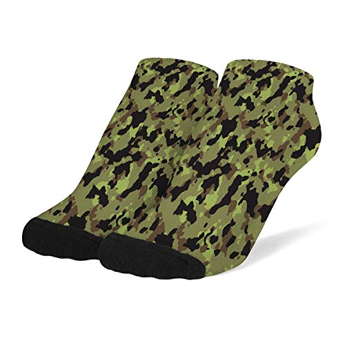 Women Compression Socks Soft Printed Crew Socks Camouflage-black-green- Arch Support Short Bobbysocks
