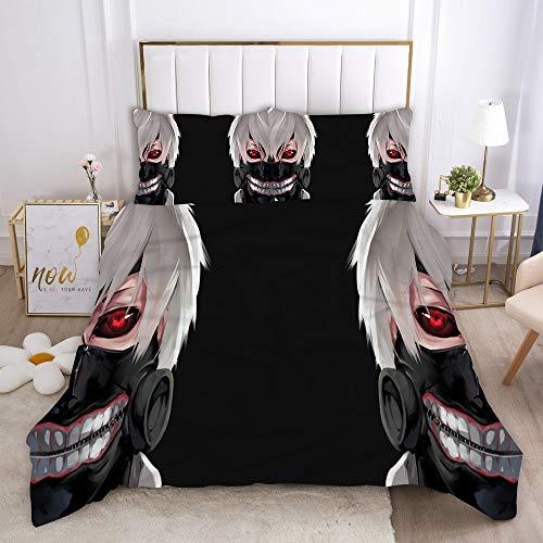Probuk Tokyo Ghoul Juego de cama 3D Tokyo Ghoul funda nórdica + funda de almohada, microfibra, cremallera, adolescentes, niños, ropa de cama (2200 x 200 cm (80 x 80 cm)