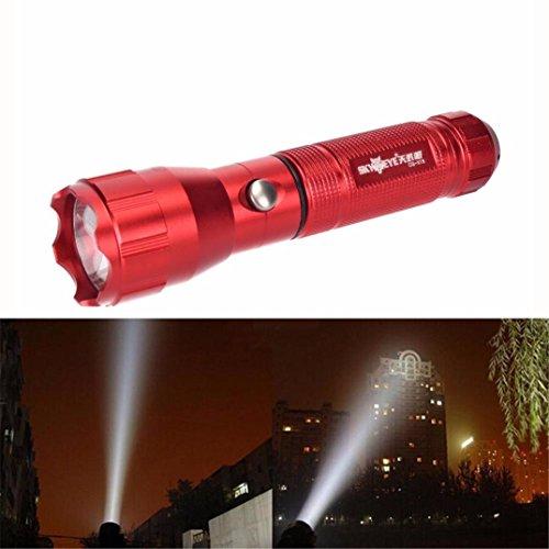 Lampes torches, Tonsee Rechargeable CREE T6 LED 3 modes 3000lm extérieur torche tactique Lampe torche 18650 (Rouge, T6)