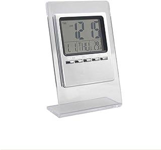 Horloge de bureau LCD Numérique Réveil Calendrier Thermomètre Multifonction Acrylique Transparent Muet Petit Réveil Snooze...