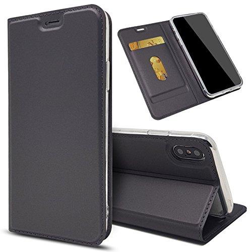 Eximmobile - Slim Handyhülle Brieftasche für LG V30 mit Kartenfach in Dunkelgrau | Dünne Schutzhülle | Handytasche als Book Hülle | Cover | Taschen | Etui Hüllen | Halterung aus Silikon