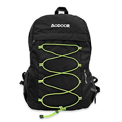 Aodoor 25L Ultraleicht Faltbarer Rucksack, Faltbarer Leichter Rucksack Tagesrucksack portabler Reiserucksack für Outdoor Wandern Camping Reisen Trekkingrucksack (25L Schwarz)