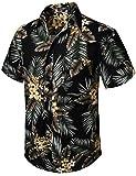 HISDERN Uomo Funky Hawaiana Camicie a Foglia Floreale Manica Corta Tasca Frontale Vacanze estive Aloha Stampato Beach Casual Nero Marrone Hawaii Camicia a Fiori