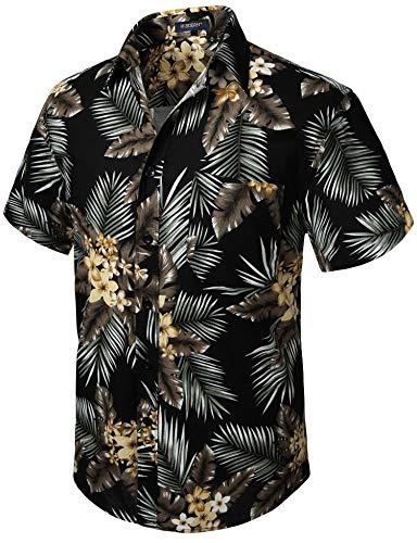 HISDERN Herren Funky Hawaiihemd Blumenblatt Hemden Kurzarm Vordertasche Urlaub Sommer Aloha Bedruckter Strand Lässig Schwarz Braun Hawaii Blumenhemd