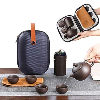 CAISANG Ceramic Travel Tea Sets 6Pack Chinese Kungfu Tea Set Porcelain Teapot, Tea Canister, 4 Teacups,Tea Mat and Portable Travel Bag Purple Clay tea pot set for Travel, Home, Outdoor, Office
