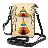 Lsjuee Hippie de dibujos animados patrón étnico bandolera monedero para teléfono pequeño Mini bolso de hombro bolsa para teléfono celular billetera de cuero para mujeres y niñas