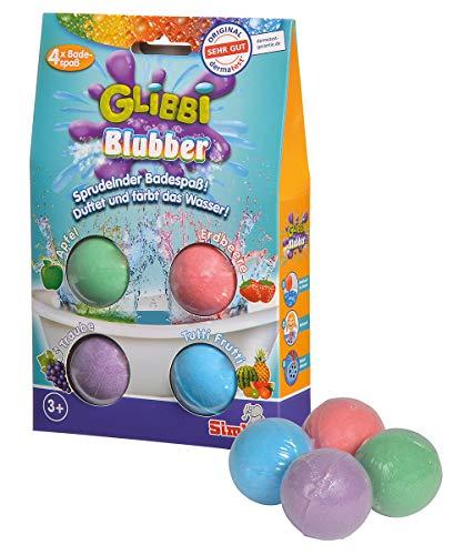 Simba 105953408 - Glibbi Blubber Badebombe, Badewannenspielzeug, Badespaß, 4 x, sprudelt und färbt das Wasser, mit verschiedenen Düften, ab 3 Jahren