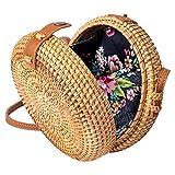Wicker Purse Circle Straw Rattan Woven Shoulder Crossbody Bag Jannock Bags
