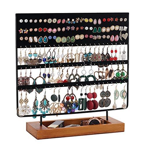 QILICZ Soporte para joyas y pendientes, 144 agujeros, soporte para pendientes, organizador con base de madera, color negro