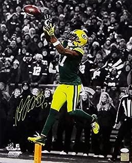 Davante Adams Signed Green Bay Packers 16x20 B&W Spotlight Catch PF Photo - JSA W Auth Yellow