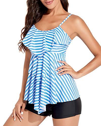 Holipick Women Tankini Swimsuits 2 Piece Flounce Printed Top with Boyshorts Bathing Suits (Blue Stripes, X-Large)
