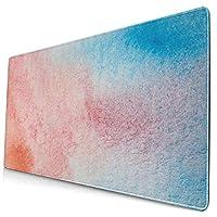 マウスパッド 大型 ゲーミング デスクマット 顔料 オレンジ色 ブルー グラデーショ 水彩画 背景 かわいい 防水性 耐久性 滑り止め 多機能 超大判 40cm×75cm