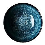 YNHNI Plato de Arroz Plato de Sopa Ramen Ramen Cuenco Cuenco de cerámica Hecha a Mano Simple Cubo Tazón Soup Bowl Estrella esmaltada (Color : Blue, Size : 19.5 * 19.5 * 7CM)