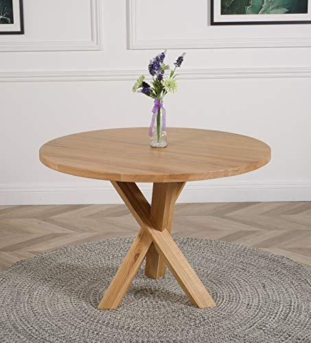 Oregon 110cm Solid Oak Round Dining Table Round Wooden Dining Table 4 Seater by Oak Furniture King
