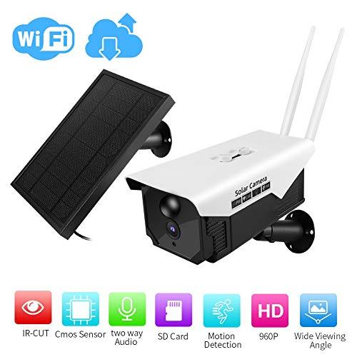 WIFI buiten zonne-camera, 1.3MP 960P HD draadloze IP-camera Mobiele afstandsbediening camera, IP66 waterdichte buiten draadloze beveiliging 18650 batterijcamera PIR wake-up 6 infraroodlampen Nachtzich
