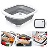 Glotoch Collapsible Sink Cutting Board and Portable Storage Basket Strainer for Camping, Picnic, BBQ, Kitchen, RV - Gray