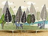 BLZQA Fotomurales Papel pintado tejido no tejido Murales moderna Ciervos del bosque abstracto Arte de la pared Decoración de Pared decorativos 300x200 cm-6 panelen