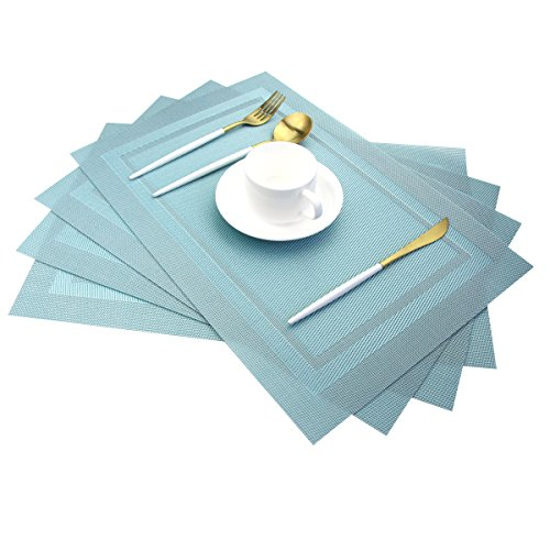 pigchcy Placemats,Heat Insulation Non Slip Plastic Placemats,Washable Easy to Clean Woven Vinyl Kitchen Stain Resistant Placemats for Dining Table Set of 4(Sky Blue)