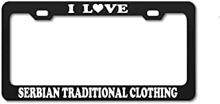 Product Express I Love Serbian Traditional Clothing Folk Costumes Clothes Black Engraving License Plate Frame