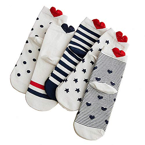 Damensocken, niedlich, lustig, gestreift, Herzform, Baumwolle Gr. One size, Socken in Herzform, 5 Paar