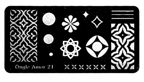 Plaque nail art stamping,pour vernis stamping et tampon stamping TAILLE 12/6 CM Plaque de stamping N 21  ONGLE AMOR
