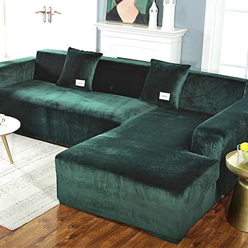 Plüsch Sofabezug Für 3 Kissen Couch,samt Sofa überwurf Elastischer Sesselbezug Möbel Sofa Loveseat Cover Protector Grün 1 Sitzer 35-55in