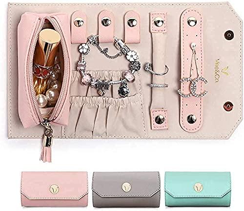 Joyero para mujer, caja de joyería grande, joyero para pendientes, collares, pulseras, relojes (tres artículos)