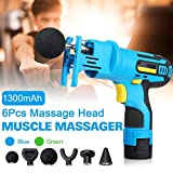 Deep Tissue Massager, Luckyfine Muscle Massager Gun Handheld 6 Massage Heads Rechargeable Deep Tissue Muscle Portable Massage Device Professional Pain Relief (Blue with Lock)